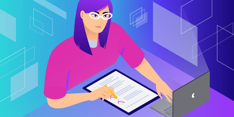 Illustration femme devant ordi
